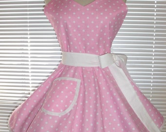 1950's Style Retro Apron Pink and White Polka Dots Circular Skirt