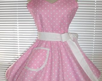 1950's Style Retro Apron Pink and White Polka Dots Circular Skirt