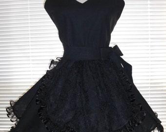 French Maid Black Retro Apron Black Lace on Black Circular Skirt