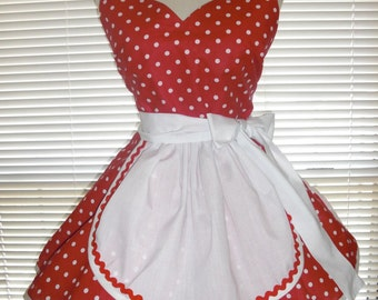 Costume Apron French Maid Apron Pin-up Retro Style Red with White Polka Dots Flirty Skirt Sweetheart Neckline