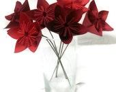 Ombre Reds OOAK, Cardstock, Origami Paper Flowers