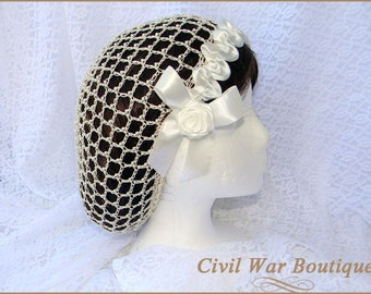1800's Civil War Victorian Cream Beige Snood with Pearls and Roses Hair Net Handmade 100% cotton