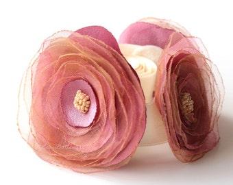 Flower Girl Sash, Pink and Cream Satin Belt, Organza Flower, Powder Pink Wedding