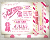 Carnival theme party with admission ticket | Carnival birthday invitation | Vintage country fair