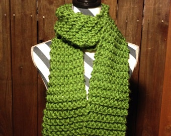 "Cute ""Forest"" Chunky Hand Knit Scarf //green//"