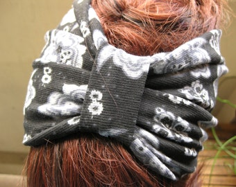 Black Damask Print Knot Headband, Cinched Turban, Turband, Head Hair Wrap, Fall Fashion Hair Accessories, Gifts for Her, Gift Ideas