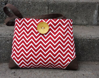 Handbag Purse Tote Bag in Red Chevron Zig Zag and Yellow Button