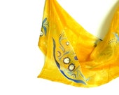 Yellow silk scarf with hungarian patterns, hand painted folk silk scarf