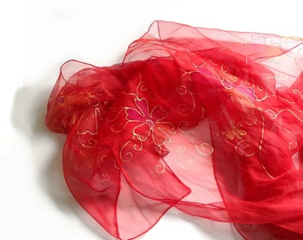 Red chiffon silk scarf with golden flowers Handpainted scarf