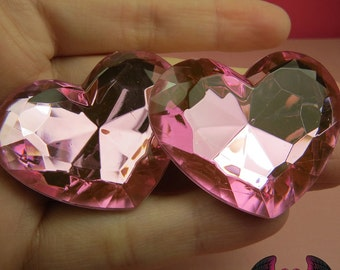 42mm HUGE HEART GEMS Pink Acrylic Faceted Rhinestones