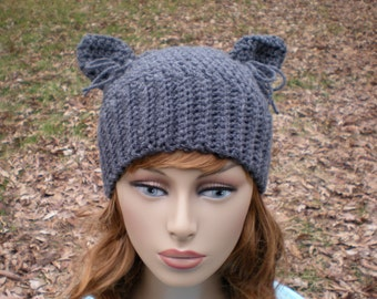 PATTERN: The Hathaway,  easy crochet PDF email, Size NB to Adult, cat ears hat, kitty kitten beanie, InStAnT DoWnLoAd, permission to sell