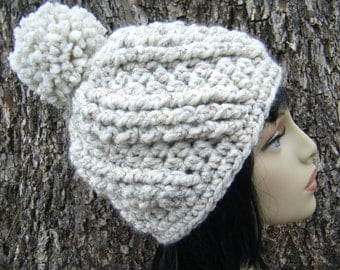 PATTERN:  Moss Avenue Beanie, textured spiral pom pom hat, easy crochet PDF, Size Teen/Adult, InStAnT DoWnLoAd, Permission to Sell