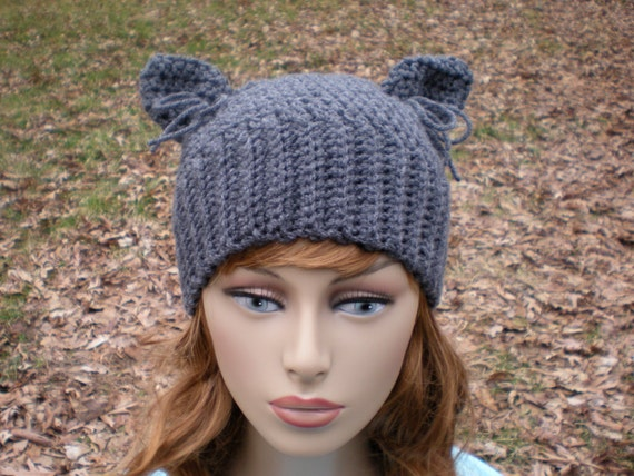 , easy crochet PDF email, Size NB to Adult, cat ears hat, kitty ...