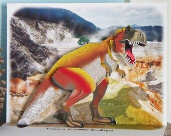Pop up Dinosaur Birthday Card Tyrannosaurus Rex pop up card