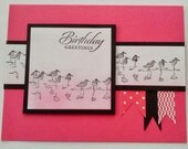 Handmade, Stamped, and Layered Birthday Card in Pink, White, and Black