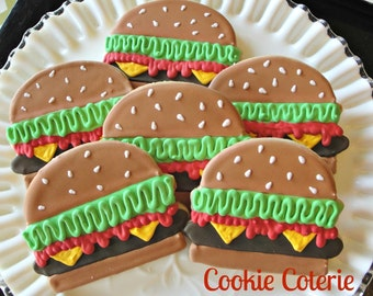 Hamburger Barbecue Picnic Themed Decorated Cookies Birthday Party Cookie Favors One Dozen
