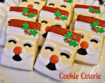 Santa Claus Christmas Cookies Decorated Cookie Favors One Dozen