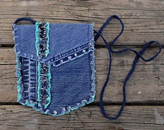 Blue Jeans Purse - Upcycled Hip Bag - Denim Pocket Purse