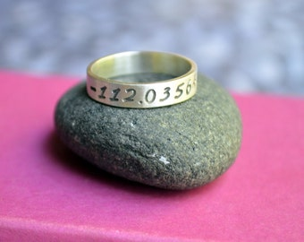 Longitude Latitude Sterling Silver Ring, Ring with Coordinates, Wedding band, Location Ring, Personalized Ring