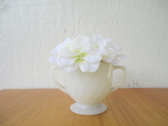 Fire King Ivory Swirl Sugar Bowl White Gold Rimmed, 50th Anniversary, Vintage 1950s