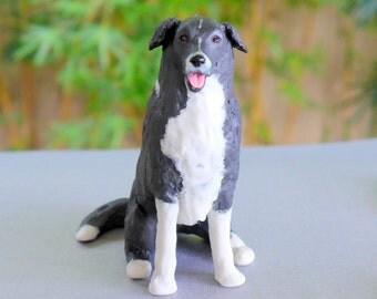 Custom Sculpture Custom Pet Portrait, dog sculpture or cat sculpture in two colours. Ex: Beagle, Border Collie, Wire Fox Terrier, Terrier