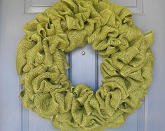 Burlap Wreath Avacado fall wreath - harvest wreath Green 25 inch