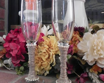 Jute Wrapped Toasting Glasses with simple pearls- Set of 2 with Jute Wrapping