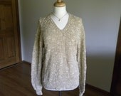 V-neck Pullover, Gold Sweater, Hand Knit