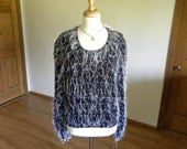 Hand Knit Pullover, Black Yarn with White Fringe and Green Tinsel