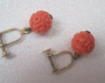 Vintage Jewelry Earrings Jewellry Faux Coral Screw Back Earrings