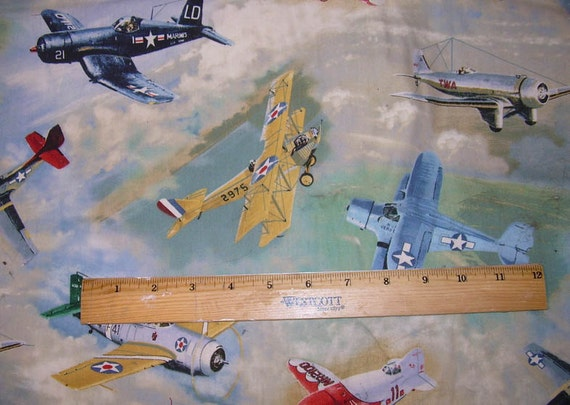 Vintage airplanes heavier cotton fabric vip cranston by the for Airplane fabric by the yard