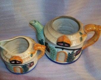 Maruhon ware Teapot and creamer 50s Antique Maruhonware collectible