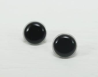 Black Stud Earrings 18mm - Black Earrings - Black Round Earring Studs - Black Studs - Costume Earrings - Costume Earrings by Biesge