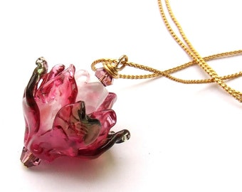 Lampwork Flower Necklace, Fuchsia Pink Glass Rose Necklace, Delicate Lampwork Beadwork, Ready to Ship !