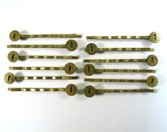 12 pcs Bobby Pins - Antique Bronze - 52 mm long - great for making cute hair accessories