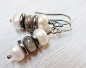 Stone Pile Earrings / Freshwater Pearls / Labradorite / Oxidized Sterling Silver / SimplyJoli Fashion Jewelry / Gray & White / Zen