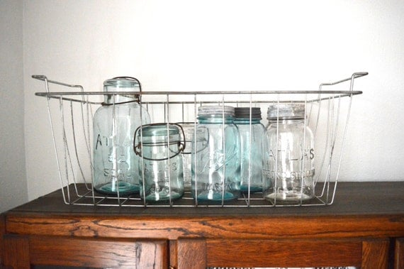 Vintage Wire Basket  Industrial Storage