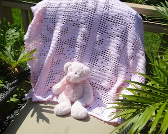 So Soft Filet crochet pink baby bear afghan MADE TO ORDER