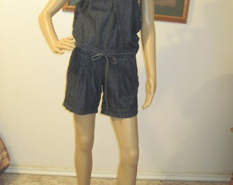 Vtg denim one piece romper playsuit jumpsuit shorts size Small halter top jumpsuit womens FREE SHIPPING!!!