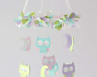 Owl Nursery Mobile in Lavender, Pink, Green & Tropical Blue- Baby Mobile, Baby Shower Gift