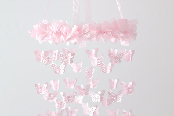 Pink Butterfly Nursery Mobile - Baby Girl Pink Butterfly Nursery Mobile Room Decor, Wedding Chandelier