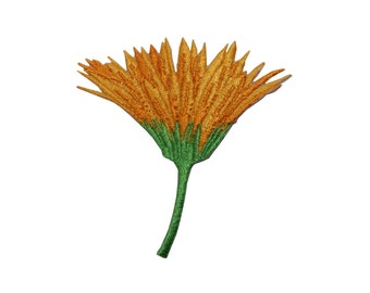 ID #6101 Yellow Orange Dandelion Flower Plant Iron On Embroidered Patch Applique