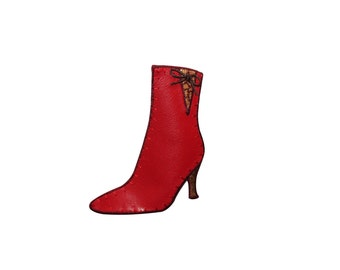 ID #7329 Red Pleather Heel Boot Shoe Fashion Iron On Embroidered Patch Applique
