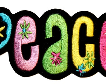 "Colorful ""Peace"" 70s Flower Power Hippie Love Embroidered Iron On Applique Patch"