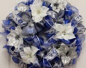 Blue, silver and white mesh wreath