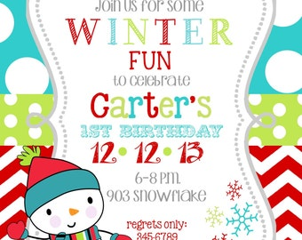 12   Winter wonderland Christmas Holiday  Birthday Party Invitations with envelopes -snowman