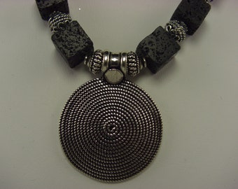 Sterling Silver & Lava Rock necklace