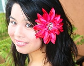 hot pink flower hair clip, crystal rhinestone flower, pink dahlia hair clip