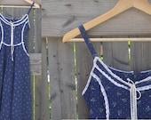 Vintage Navy Blue Floral Calico Gunne Sax Corset Sundress 1970s/80s
