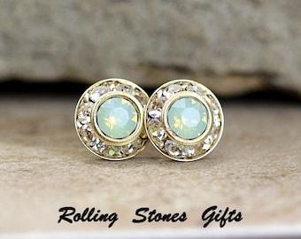 9mm Chrysolite Opal & Gold Swarovski Rhinestone Surrounds Stud Earrings-Chrysolite Opal Crystal Studs-Opal Rhinestone Stud Earrings